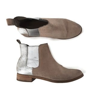 Toms tan silver ankle boots booties 7.5